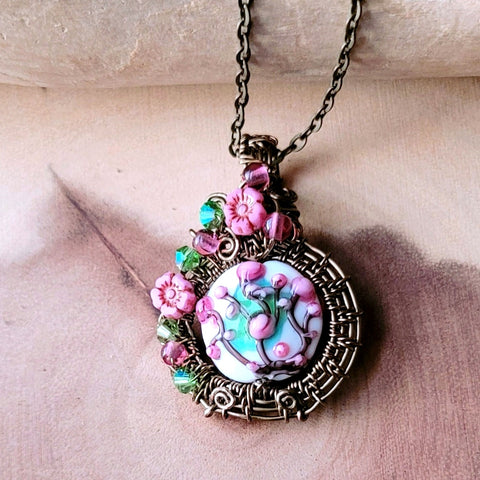 Cherry Blossom Pendant, Wire Wrapped Floral OOAK Pendant on chain.