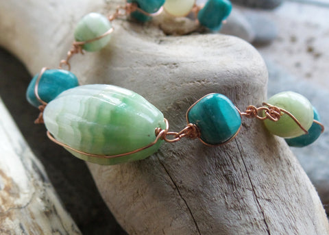 Eco Alabaster Wire Wrapped Bracelet