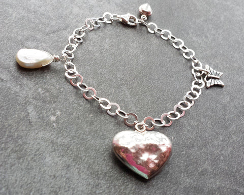 Beaten but More Beautiful Heart Charm Bracelet