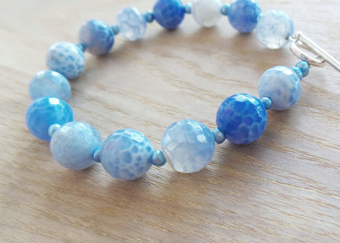 Water Dance Blue Agate Bracelet-Blue Agate, Freshwater Cultured Pearls & Sterling Silver