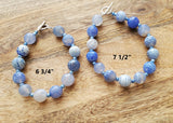 Water Dance Blue Agate Bracelet-Blue Agate, Freshwater Cultured Pearls & Sterling Silver-Two Sizes