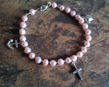 Hope Faith & Charity Pink Pearl Bracelet