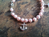 Hope Faith & Charity Pink Freshwater Cultured Pearl Bracelet with Sterling Silver, Anchor, Heart, Cross