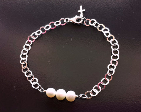 Pearl Trinity Bracelet-Three White Freshwater Cultured Pearls-Sterling Silver-Small Cross-Handmade-Adjustable