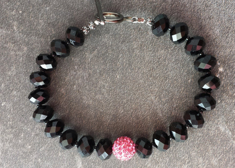 Pop of Pink Crystal Bracelet, Black and Pink Crystal Beaded Crystal Bracelet with Gun Metal-Black Metal Toggle Clasp
