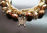 Golden Vintage Crystal Charm Bracelet-Handcrafted-Vintage Inspired-One of a Kind-Eco Friendly-Fair-trade-Owl- Butterfly-Heart