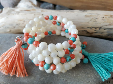 Boho Mother of Pearl, Coral, Turquoise, Tassel, Wrap Bracelet on Memory Wire & Handmade Tassels