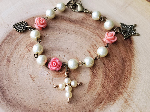 Garden of Faith Pearl Rose Cross Butterfly Heart Bracelet