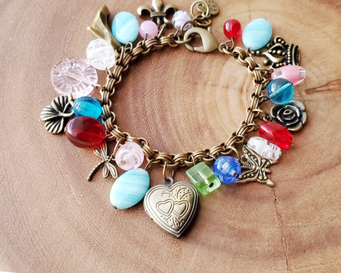 Garden of Joy Charm Bracelet, Heart Locket, Cross, Dragonfly, Butterfly, Crown, Shoe, Fleur de Lee, Rose, Orchid and Vintage Glass Beads