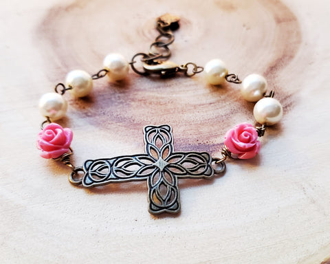 Garden of Faith Pearl Rose Sideways Cross Butterfly Heart Bracelet made with Upcycled Vintage Faux Pearls