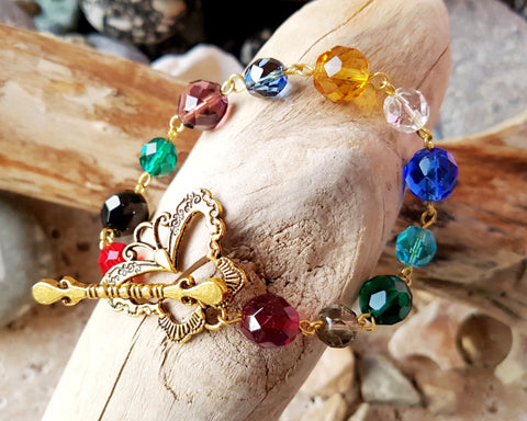 12 Stones of the High Priest Gold Butterfly Bracelet-Twelve Stones from the Breast Plate of the High Priest in Exodus-Bible-Sparkly-Gold Plated-Handmade