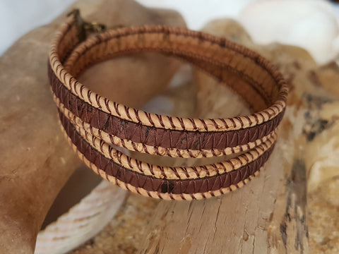 Two Tone Cork Wrap Bracelet