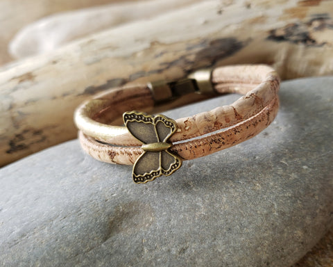 Butterfly Gold Cork Bracelet-Anitqued Brass