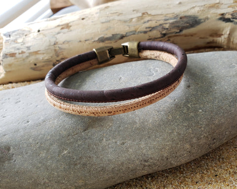 Double Double  Cork Bracelet-Anitqued Brass