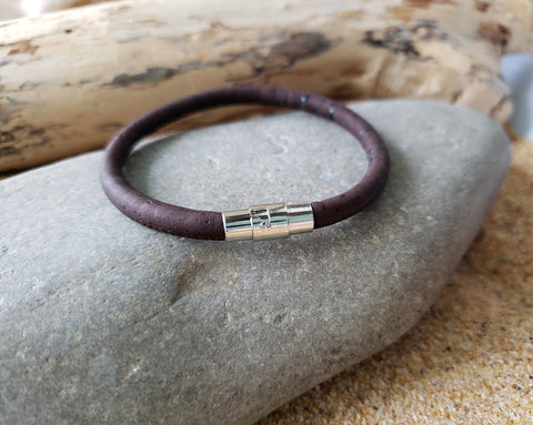 Dark Brown Cork Bracelet-Magnetic Clasp-Unisex