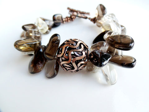 Lively Copper Smokey Quartz Statement Bracelet