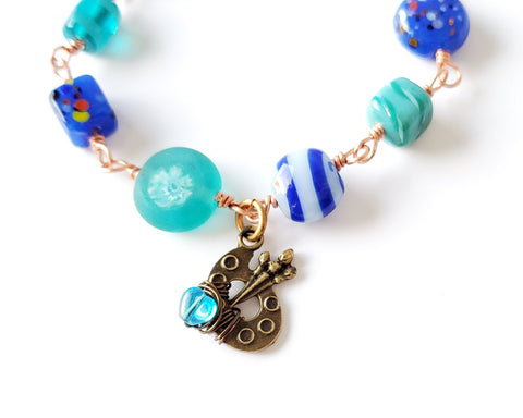 Painters Joy Bracelet, with Copper Wire Wrapped Glass Beads & Painters Palette