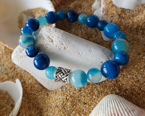 Strong Blue Agate Bracelet-Handcrafted-Blue Stone-Viking Bead-Stretch Bracelet