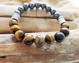 Power Tigers Eye & Hematite Bracelet-Unisex-Handcrafted-Fair Trade-Genuine Tigers Eye-Hematite-Viking Beads-Stretch Bracelet-