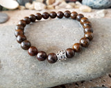 Strong Bronzite Bracelet- Handcrafted-Brown Gemstone-Viking Bead-Stretch Bracelet