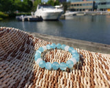 Blue Water Jade Alabaster Beaded Bracelet, Upcycled Vintage White Alabaster, Blue Jade