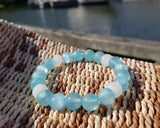Blue Water Jade Alabaster Beaded Bracelet, Upcycled Vintage White Alabaster, Blue Jade, Water Inspired