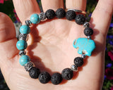 Turquoise Elephant Lava Rock-Essential Oil Diffuser Bracelet-Aromatherapy Jewellery-Jewelry-Handmade-Beaded-Lava Stone-Turquoise
