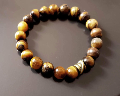 Wild Tigers Eye Beaded Bracelet, Tigers Eye Bracelet, Brown Stone Bracelet, Mens Bracelet, Gift for Men, Unisex