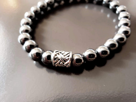 Power Hematite Beaded Bracelet-Unisex-Men