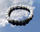 Heavenly Sent Howlite Lava Stone Essential Oil Diffuser Bracelet