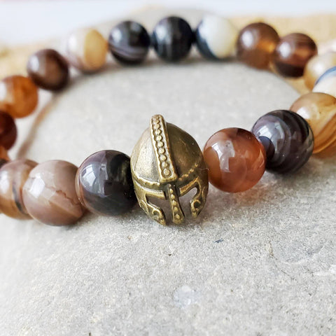 Helmet of Salvation Sardonyx Beaded Bracelet, Sardonyx Bracelet, Helmet Bracelet, Brown Stone, Eph 6:17, Bible, Men, Unisex