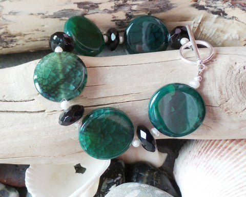 Forest Gems Statement Bracelet, Black Onyx, Green Agate, Freshwater Cultured Pearl, Sterling Silver,