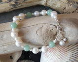 Luxury Jade & Pearl Bracelet, Beaded White Freshwater Cultured Pearls and Pale Green Jade