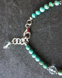 Turquoise Friendship, Anchor, Heart Charm Bracelet  made with Sterling Silver, Aquamarine & Turquoise