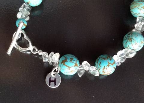 Personalized Turquoise & Rock Crystal Bracelet