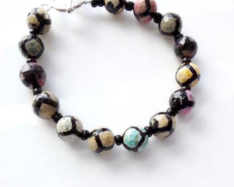Rainbow Druzy Beaded Bracelet-Sterling Silver-Black & Multi Color Etched Agates
