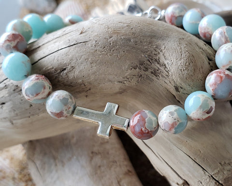 Sea Sediment Imperial Jasper Sideways Cross Beaded Sterling Silver Bracelet