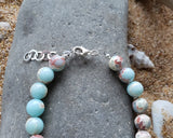 Sea Sediment  Imperial Jasper Beaded Bracelet, Sterling Sivler