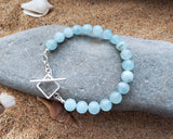 Aquamarine Dream Bracelet-Sterling Sivler-Handmade-Beaded Aquamarine Bracelet with Square Toggle Clasp.