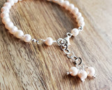 Pale Pink Pearl Forever Bracelet, Sterling Silver, Freshwater Cultured Pearls, Beaded, Adjustable