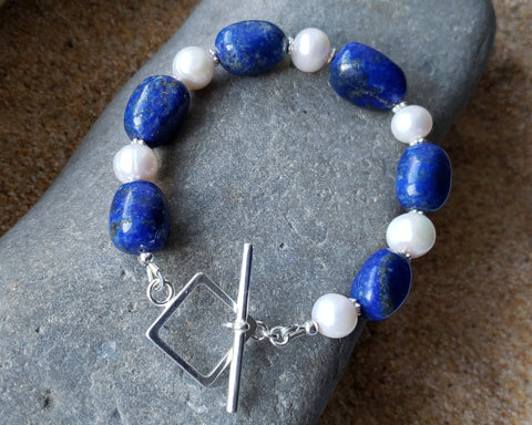 White Clouds in a Blue Lapis Lazuli Sky  Pearl Bracelet