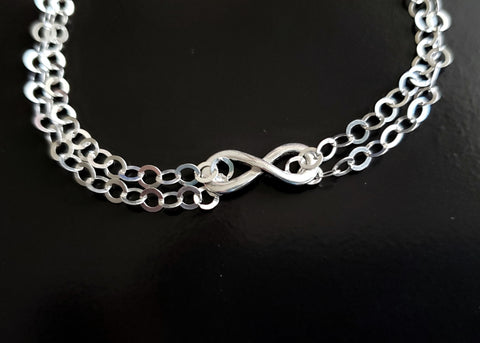 Infinity Double Chain Bracelet-Ankle Bracelet Sterling Silver Adjustable