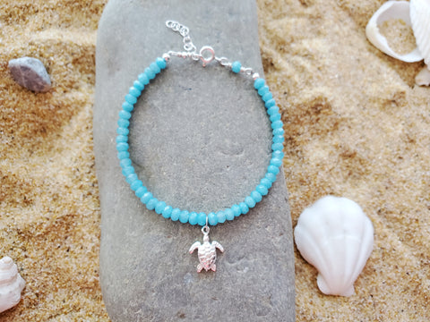 Turtle Blue Jade Quartz Bracelet, Sterling Silver, Sea Turtle