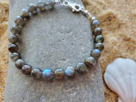 Labradorite Blue Flash Beaded Bracelet, Sterling Silver, AA Labradorite, Adjustable, Stacking Bracelet