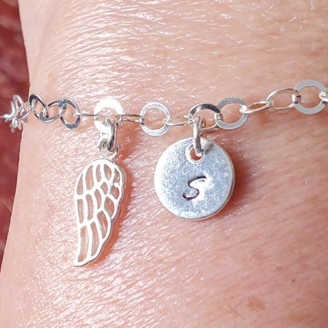 Personalized Wing Initial Bracelet