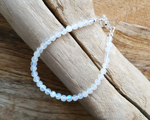 Moon Glow Moonstone Beaded Bracelet, Sterling Silver, Star Bracelet, Moonstone Stacking Bracelet, Layering Bracelet, Celestial Bracelet, Small Moonstones, June, Rainbow