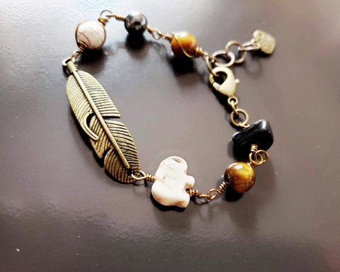 Feather Elephant Onyx  Tigers Eye  Howlite Bracelet, Upcycled Vintage Onyx, Tigers Eye, Howlite, Elephant Bracelet, Feather Bracelet