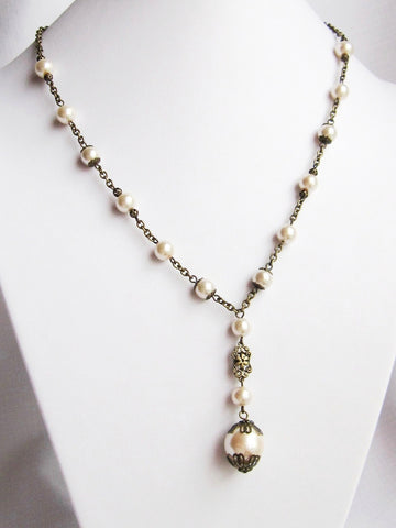 Victorian Pearl Romance Set-Necklace & Earrings-Antiqued Brass & White Pearls-Handmade