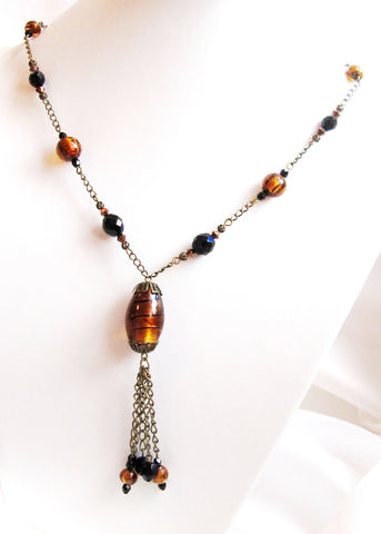 Warm and Wild Art Deco Inspired Tassel Necklace