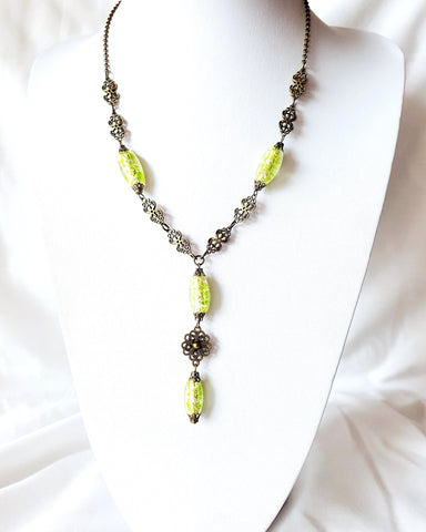 Lime Green Art Deco Fire Necklace-OOAK-Y Style Necklace-Vintage Foil Glass Beads-Antiqued Brass